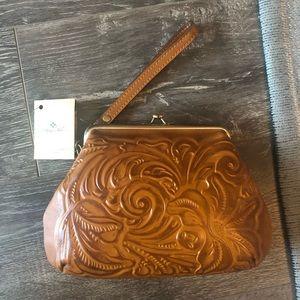 Patricia Nash Savena Leather Wristlet in Gold